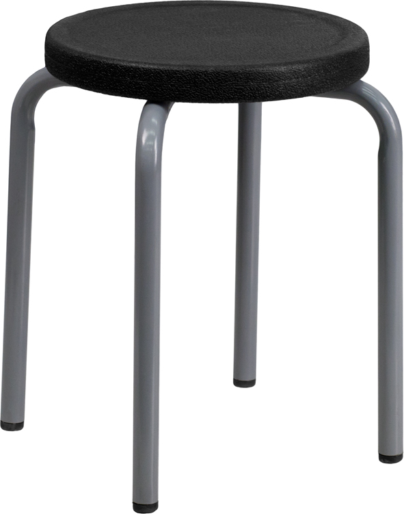 ERGONOMIC HOME Stackable Stool with Black Seat and Silver Powder Coated Frame. PRICE IS 5 PER BOX.