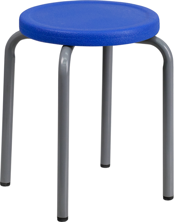 ERGONOMIC HOME Stackable Stool with Blue Seat and Silver Powder Coated Frame