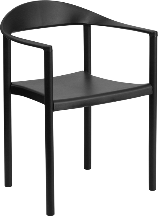 TOUGH ENOUGH Series 1000 lb. Capacity Black Plastic Cafe Stack Chair RUT-418-BK-GG