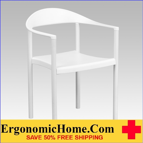 Ergonomic Home TOUGH ENOUGH Series 1000 lb. Capacity White Plastic Cafe Stack Chair EH-RUT-418-WH-GG <b><font color=green>50% Off Read More Below...</font></b></font></b>