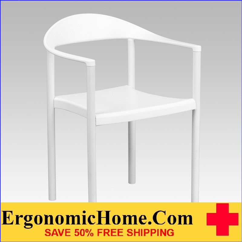 </b></font>Ergonomic Home TOUGH ENOUGH Series 1000 lb. Capacity White Plastic Cafe Stack Chair EH-RUT-418-WH-GG <b></font>. </b></font></b>