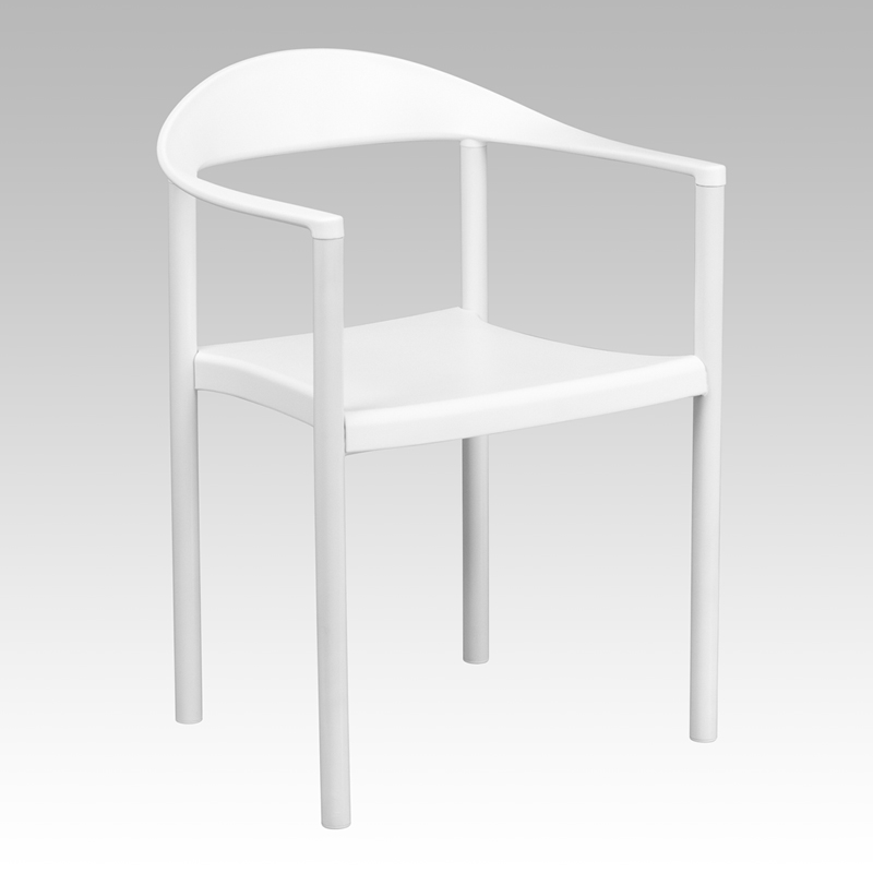 TOUGH ENOUGH Series 1000 lb. Capacity White Plastic Cafe Stack Chair RUT-418-WH-GG