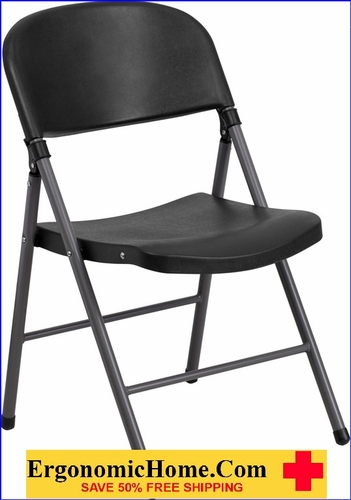 Ergonomic Home TOUGH ENOUGH Series 330 lb. Capacity Black Plastic Folding Chair with Charcoal Frame EH-DAD-YCD-50-GG <b><font color=green>50% Off Read More Below... </font></b>