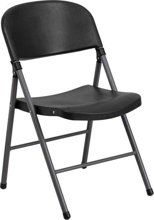 Ergonomic Home TOUGH ENOUGH Series 330 lb. Capacity Black Plastic Folding Chair with Charcoal Frame EH-DAD-YCD-50-GG <b><font color=green>50% Off Read More Below...</font></b>