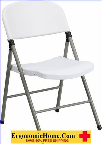 Ergonomic Home TOUGH ENOUGH Series 330 lb. Capacity White Plastic Folding Chair with Gray Frame EH-DAD-YCD-70-WH-GG <b><font color=green>50% Off Read More Below...</font></b> </font></b></font></b>