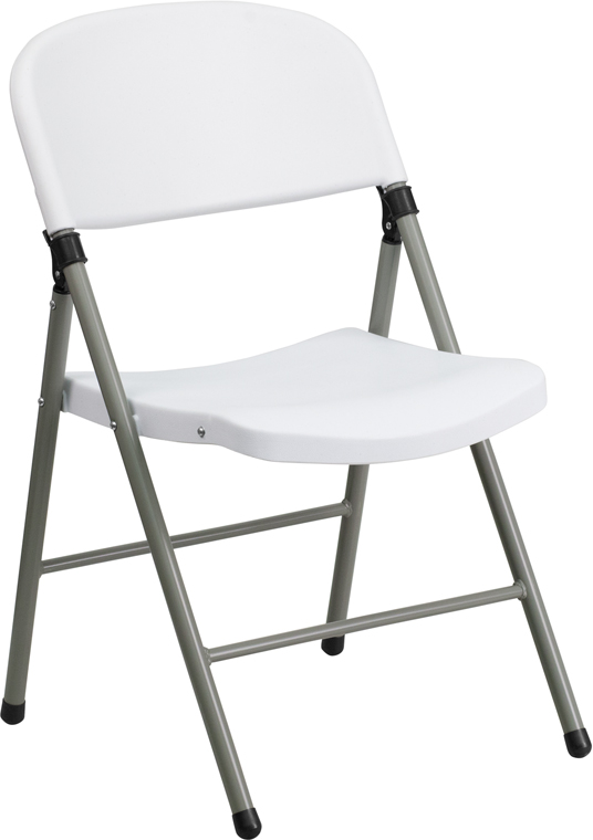 Ergonomic Home TOUGH ENOUGH Series 330 lb. Capacity White Plastic Folding Chair with Gray Frame EH-DAD-YCD-70-WH-GG <b><font color=green>50% Off Read More Below...</font></b>