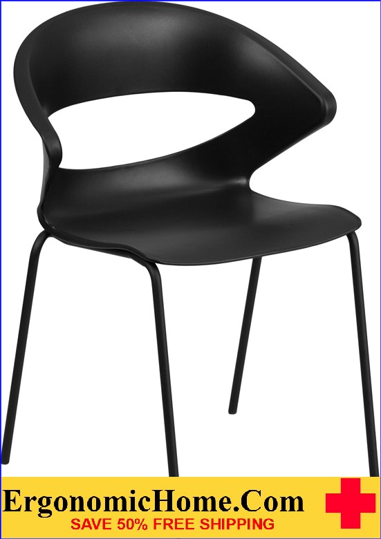 </b></font>Ergonomic Home TOUGH ENOUGH Series 440 lb. Capacity Black Stack Chair EH-RUT-4-BK-GG <b></font>. </b></font></b>