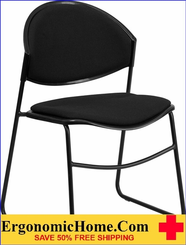 Ergonomic Home TOUGH ENOUGH Series 550 lb. Capacity Black Padded Stack Chair with Black Frame EH-RUT-CA02-01-BK-PAD-GG <b><font color=green>50% Off Read More Below...</font></b></font></b>