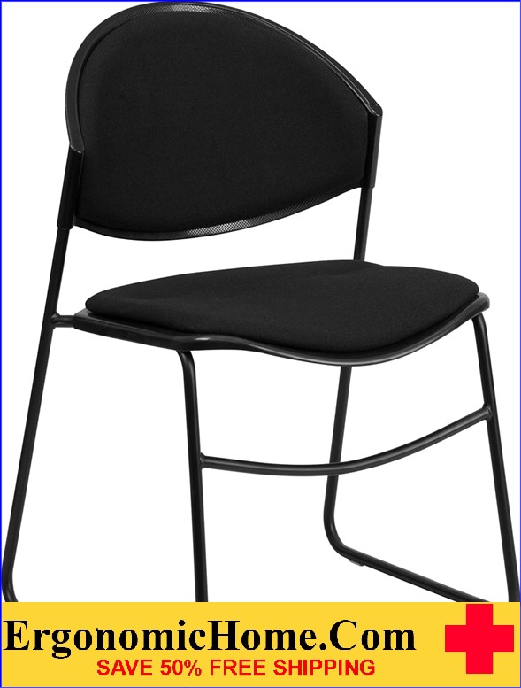 Ergonomic Home TOUGH ENOUGH Series 550 lb. Capacity Black Padded Stack Chair with Black Frame EH-RUT-CA02-01-BK-PAD-GG .