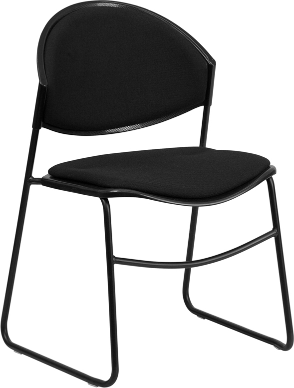 TOUGH ENOUGH Series 550 lb. Capacity Black Padded Stack Chair with Black Frame RUT-CA02-01-BK-PAD-GG