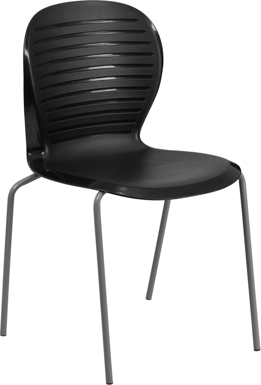 TOUGH ENOUGH Series 551 lb. Capacity Black Stack Chair RUT-3-BK-GG