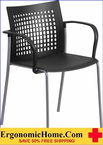 Ergonomic Home TOUGH ENOUGH Series 551 lb. Capacity Black Stack Chair with Air-Vent Back and Arms EH-RUT-1-BK-GG <b><font color=green>50% Off Read More Below...</font></b>