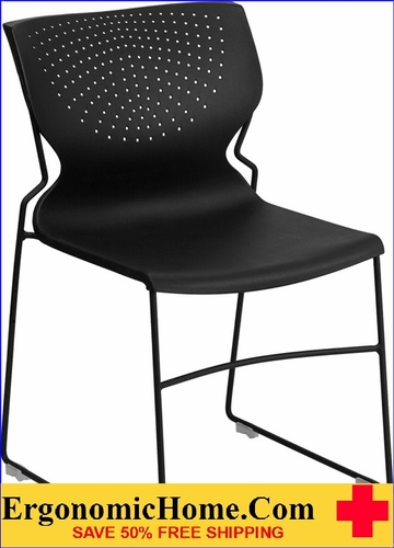 Ergonomic Home TOUGH ENOUGH Series 661 lb. Capacity Black Full Back Stack Chair with Black Frame EH-RUT-438-BK-GG <b><font color=green>50% Off Read More Below...</font></b>