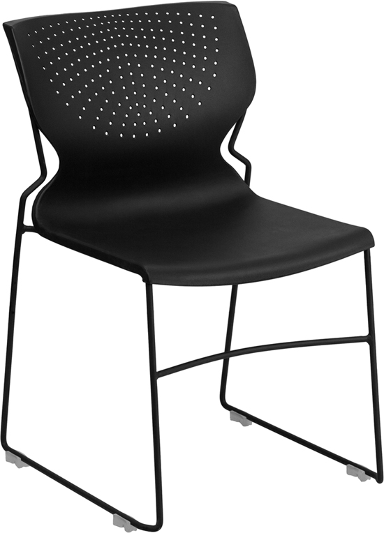 TOUGH ENOUGH Series 661 lb. Capacity Black Full Back Stack Chair with Black Frame RUT-438-BK-GG