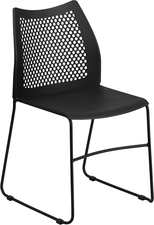 TOUGH ENOUGH Series 661 lb. Capacity Black Sled Base Stack Chair with Air-Vent Back RUT-498A-BLACK-GG