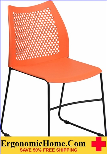 Ergonomic Home TOUGH ENOUGH Series 661 lb. Capacity Orange Sled Base Stack Chair with Air-Vent Back EH-RUT-498A-ORANGE-GG <b><font color=green>50% Off Read More Below...</font></b></font></b>