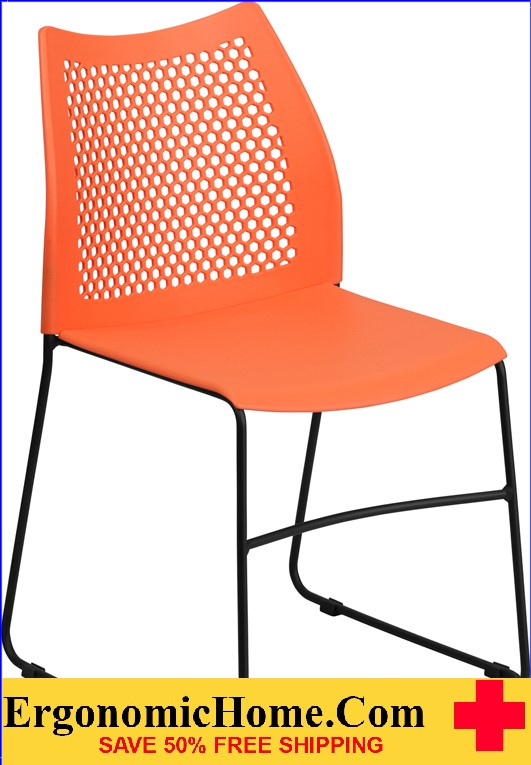 </b></font>Ergonomic Home TOUGH ENOUGH Series 661 lb. Capacity Orange Sled Base Stack Chair with Air-Vent Back EH-RUT-498A-ORANGE-GG <b></font>. </b></font></b>
