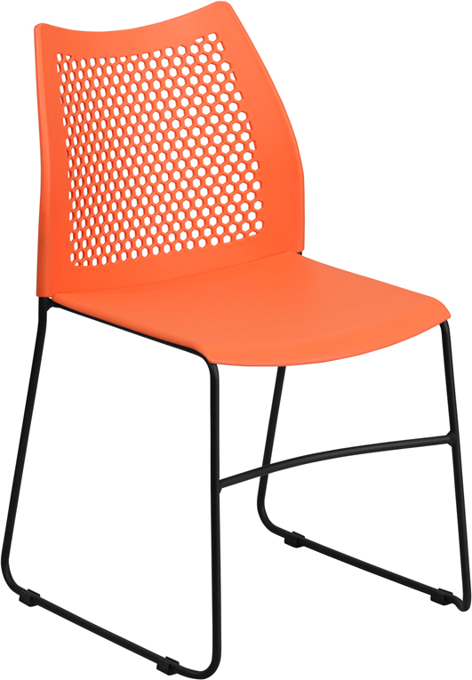 TOUGH ENOUGH Series 661 lb. Capacity Orange Sled Base Stack Chair with Air-Vent Back RUT-498A-ORANGE-GG