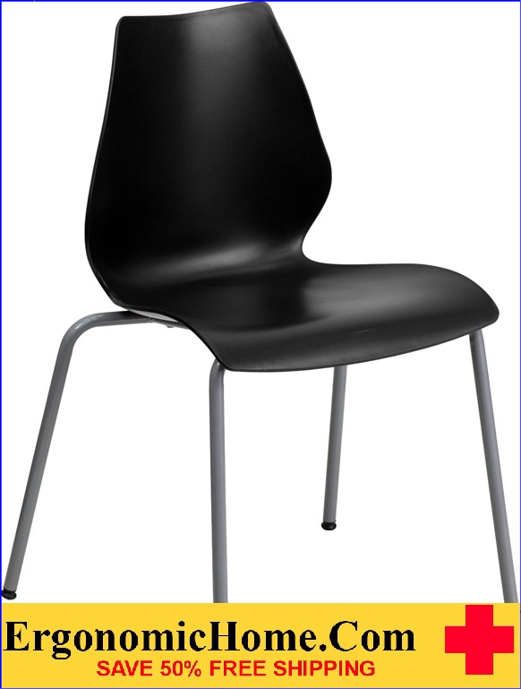</b></font>Ergonomic Home TOUGH ENOUGH Series 770 lb. Capacity Black Stack Chair with Lumbar Support and Silver Frame EH-RUT-288-BK-GG <b></font>. </b></font></b>