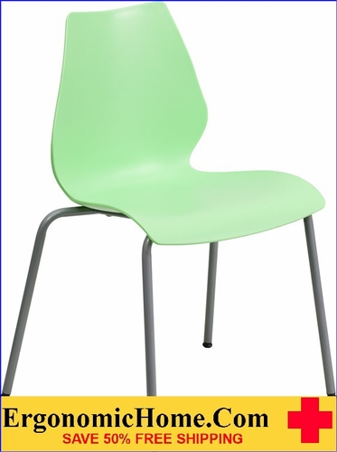 Ergonomic Home TOUGH ENOUGH Series 770 lb. Capacity Green Stack Chair with Lumbar Support and Silver Frame EH-RUT-288-GREEN-GG <b><font color=green>50% Off Read More Below...</font></b></font></b>