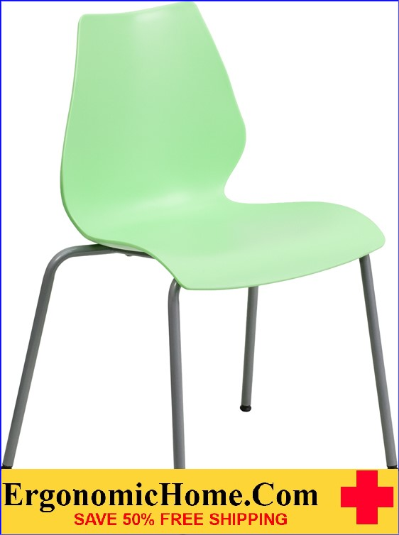 </b></font>Ergonomic Home TOUGH ENOUGH Series 770 lb. Capacity Green Stack Chair with Lumbar Support and Silver Frame EH-RUT-288-GREEN-GG <b></font>. </b></font></b>