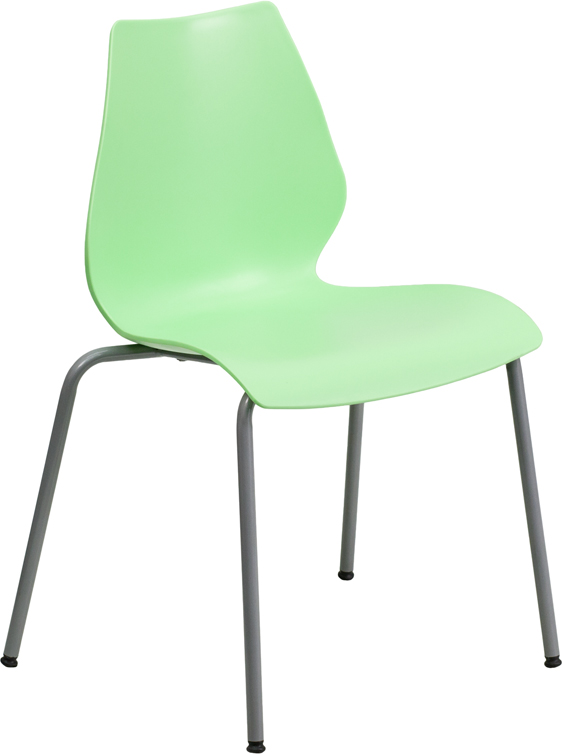 TOUGH ENOUGH Series 770 lb. Capacity Green Stack Chair with Lumbar Support and Silver Frame RUT-288-GREEN-GG