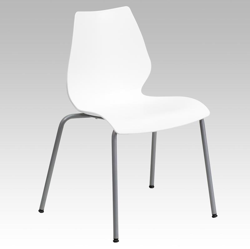 TOUGH ENOUGH Series 770 lb. Capacity White Stack Chair with Lumbar Support and Silver Frame RUT-288-WHITE-GG