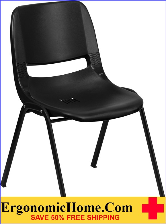 </b></font>Ergonomic Home TOUGH ENOUGH Series 880 lb. Capacity Black Ergonomic Shell Stack Chair EH-RUT-EO1-BK-GG <b></font>. </b></font></b>