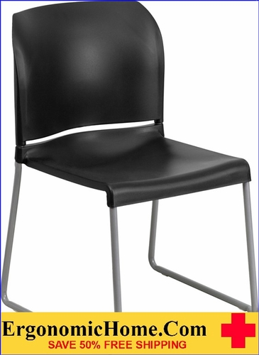 Ergonomic Home TOUGH ENOUGH Series 880 lb. Capacity Black Full Back Contoured Stack Chair with Sled Base EH-RUT-238A-BK-GG <b><font color=green>50% Off Read More Below...</font></b>