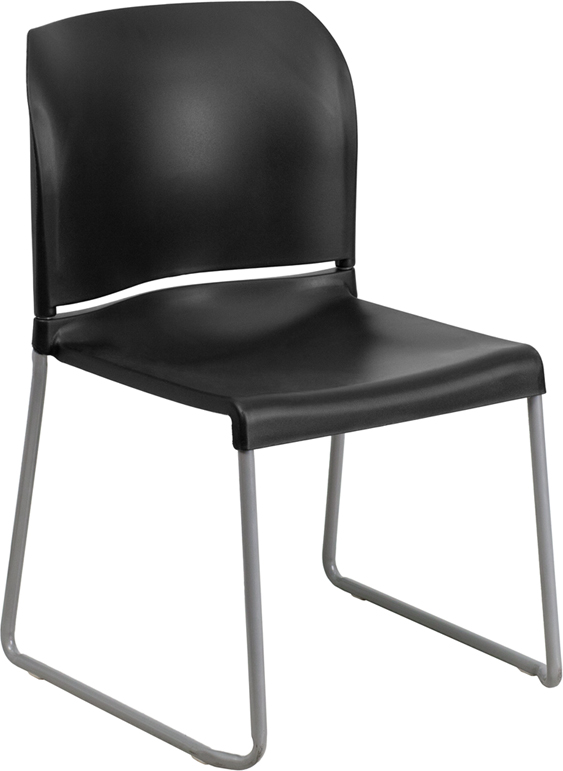 TOUGH ENOUGH Series 880 lb. Capacity Black Full Back Contoured Stack Chair with Sled Base RUT-238A-BK-GG