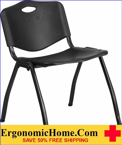 Ergonomic Home TOUGH ENOUGH Series 880 lb. Capacity Black Plastic Stack Chair EH-RUT-D01-BK-GG <b><font color=green>50% Off Read More Below...</font></b>