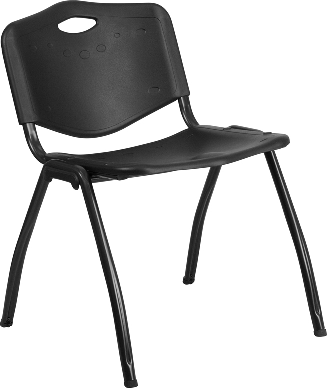 TOUGH ENOUGH Series 880 lb. Capacity Black Plastic Stack Chair RUT-D01-BK-GG
