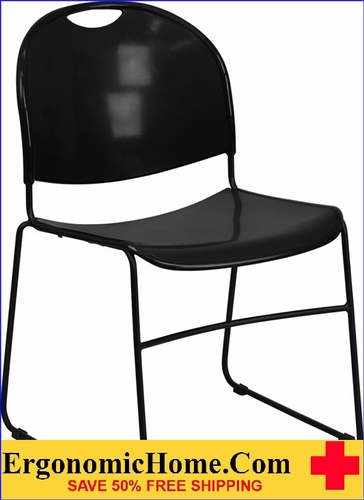 Ergonomic Home TOUGH ENOUGH Series 880 lb. Capacity Black Ultra Compact Stack Chair with Black Frame EH-RUT-188-BK-GG <b><font color=green>50% Off Read More Below...</font></b></font></b>