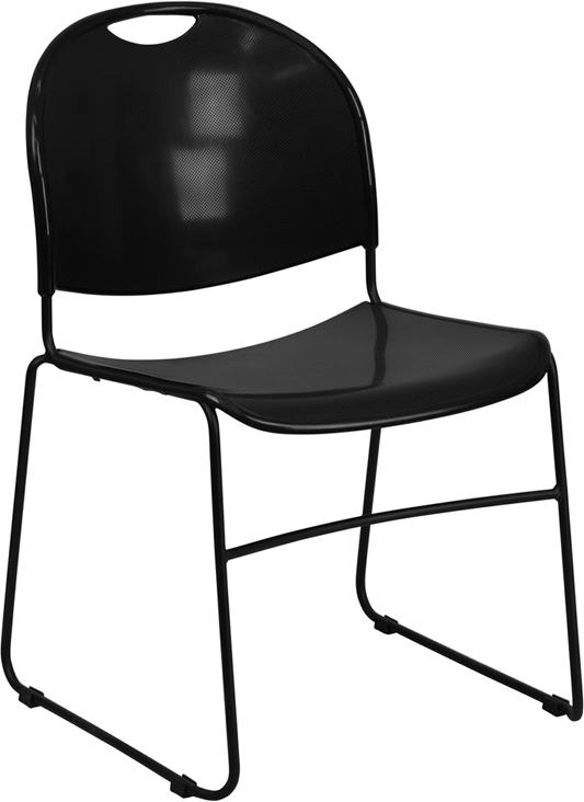TOUGH ENOUGH Series 880 lb. Capacity Black Ultra Compact Stack Chair with Black Frame RUT-188-BK-GG