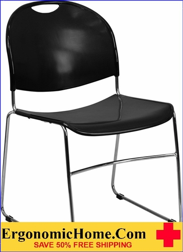 Ergonomic Home TOUGH ENOUGH Series 880 lb. Capacity Black Ultra Compact Stack Chair with Chrome Frame EH-RUT-188-BK-CHR-GG <b><font color=green>50% Off Read More Below...</font></b></font></b>