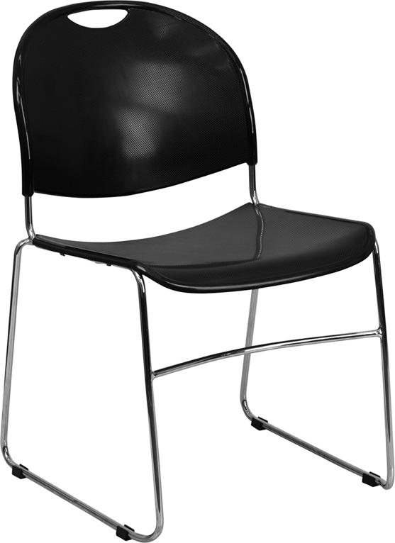 TOUGH ENOUGH Series 880 lb. Capacity Black Ultra Compact Stack Chair with Chrome Frame RUT-188-BK-CHR-GG