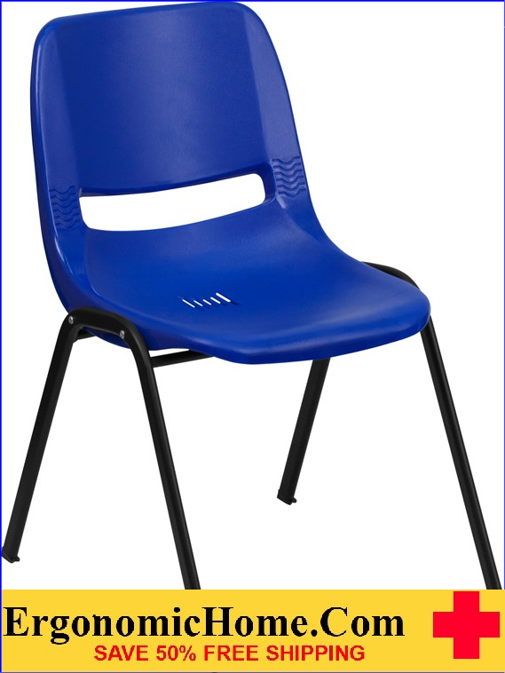</b></font>Ergonomic Home TOUGH ENOUGH Series 880 lb. Capacity Blue Ergonomic Shell Stack Chair EH-RUT-EO1-BL-GG <b></font>. </b></font></b>
