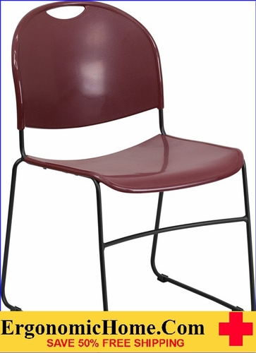 Ergonomic Home TOUGH ENOUGH Series 880 lb. Capacity Burgundy Ultra Compact Stack Chair with Black Frame EH-RUT-188-BY-GG <b><font color=green>50% Off Read More Below...</font></b>