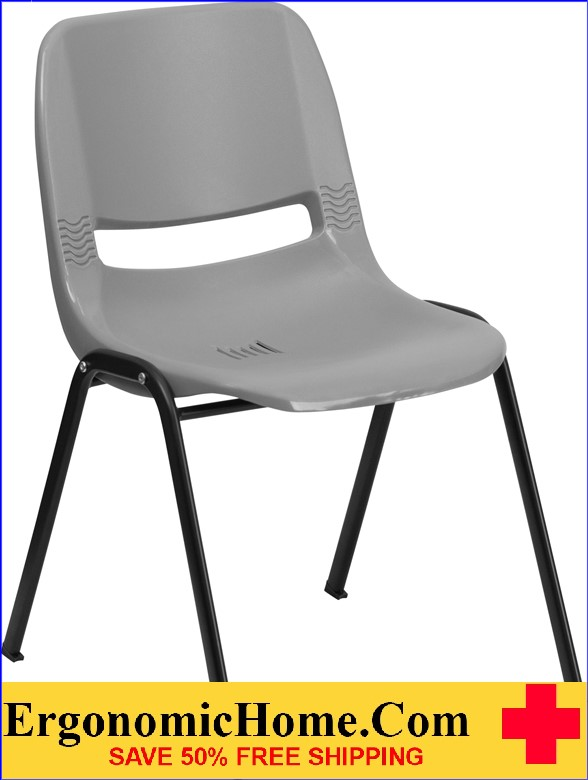 </b></font>Ergonomic Home TOUGH ENOUGH Series 880 lb. Capacity Gray Ergonomic Shell Stack Chair EH-RUT-EO1-GY-GG <b></font>. </b></font></b>