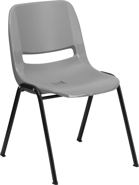 TOUGH ENOUGH Series 880 lb. Capacity Gray Ergonomic Shell Stack Chair RUT-EO1-GY-GG