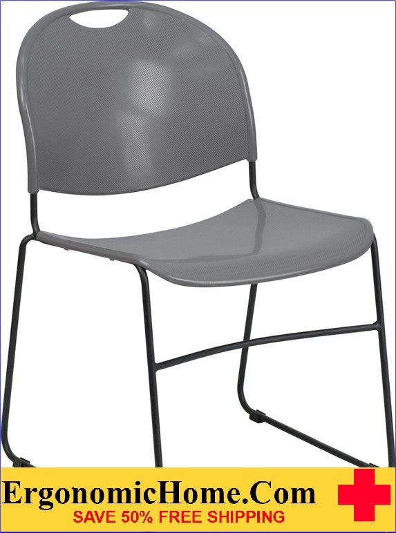 </b></font>Ergonomic Home TOUGH ENOUGH Series 880 lb. Capacity Gray Ultra Compact Stack Chair with Black Frame EH-RUT-188-GY-GG <b></font>. </b></font></b>