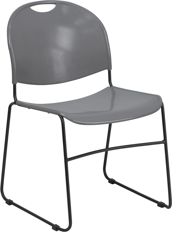 TOUGH ENOUGH Series 880 lb. Capacity Gray Ultra Compact Stack Chair with Black Frame RUT-188-GY-GG