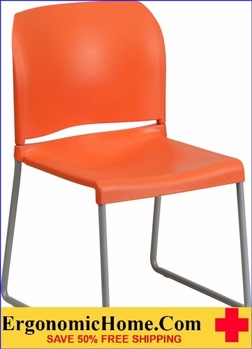 Ergonomic Home TOUGH ENOUGH Series 880 lb. Capacity Orange Full Back Contoured Stack Chair with Sled Base EH-RUT-238A-OR-GG <b><font color=green>50% Off Read More Below...</font></b></font></b>
