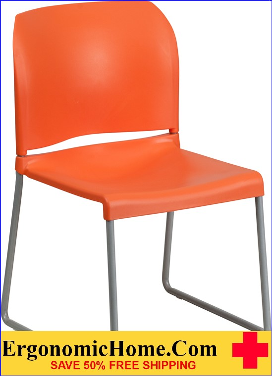 </b></font>Ergonomic Home TOUGH ENOUGH Series 880 lb. Capacity Orange Full Back Contoured Stack Chair with Sled Base EH-RUT-238A-OR-GG <b></font>. </b></font></b>