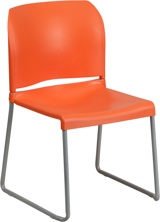 TOUGH ENOUGH Series 880 lb. Capacity Orange Full Back Contoured Stack Chair with Sled Base RUT-238A-OR-GG