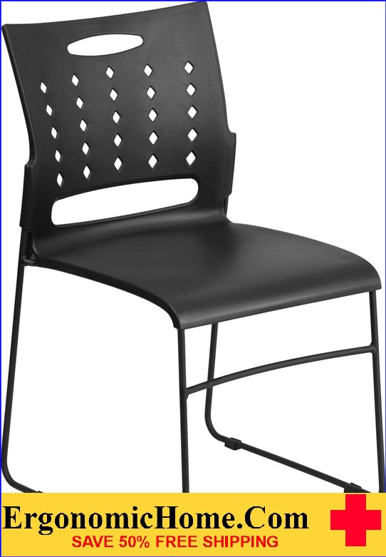 </b></font>Ergonomic Home TOUGH ENOUGH Series 881 lb. Capacity Black Sled Base Stack Chair with Air-Vent Back EH-RUT-2-BK-GG <b></font>. </b></font></b>