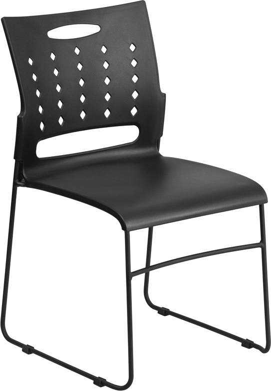 TOUGH ENOUGH Series 881 lb. Capacity Black Sled Base Stack Chair with Air-Vent Back RUT-2-BK-GG
