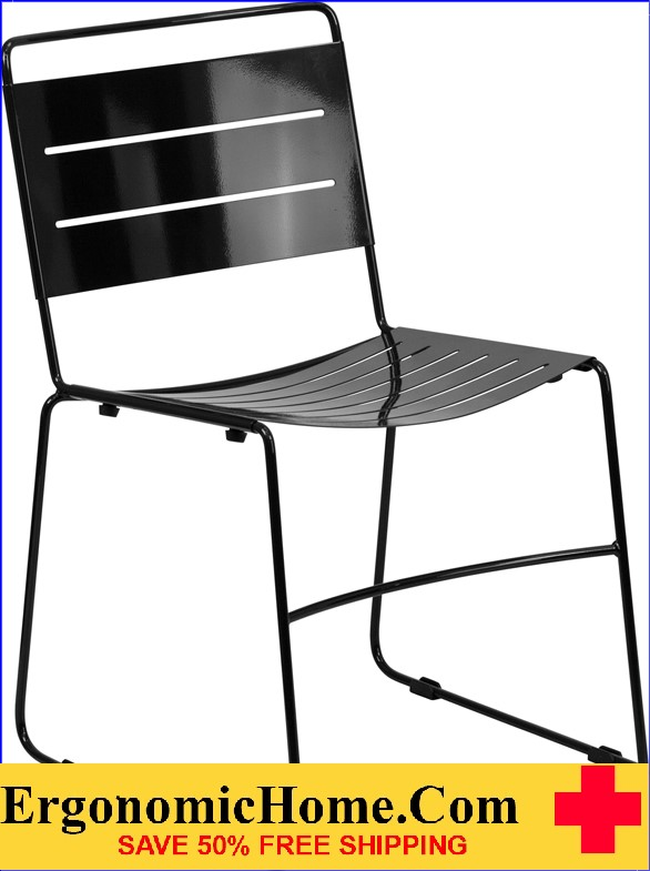 Ergonomic Home TOUGH ENOUGH Series Black Indoor-Outdoor Metal Stack Chair EH-HA-1-BK-GG .