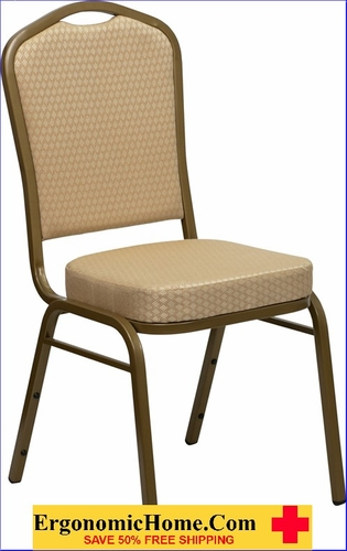 Ergonomic Home TOUGH ENOUGH Series Crown Back Stacking Banquet Chair with Beige Patterned Fabric and 2.5'' Thick Seat - Gold Frame EH-FD-C01-ALLGOLD-H20124E-GG <b><font color=green>50% Off Read More Below...</font></b> </font></b>