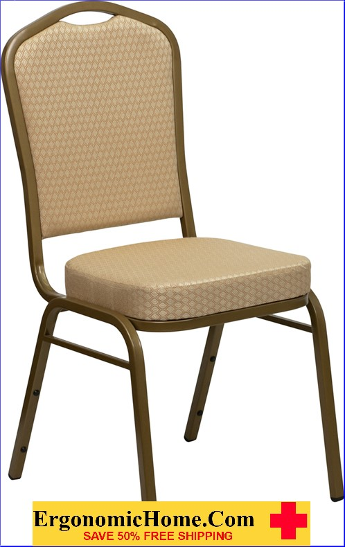 </b></font>Ergonomic Home TOUGH ENOUGH Series Crown Back Stacking Banquet Chair with Beige Patterned Fabric and 2.5'' Thick Seat - Gold Frame EH-FD-C01-ALLGOLD-H20124E-GG <b></font>. </b></font></b>